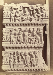 Buddhist sculpture from Karamar, Peshawar District: fragment of an urdhvapatta, showing three scenes, one of them a Naga scene.